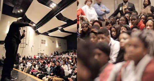 Eric Thomas speaking to high school students