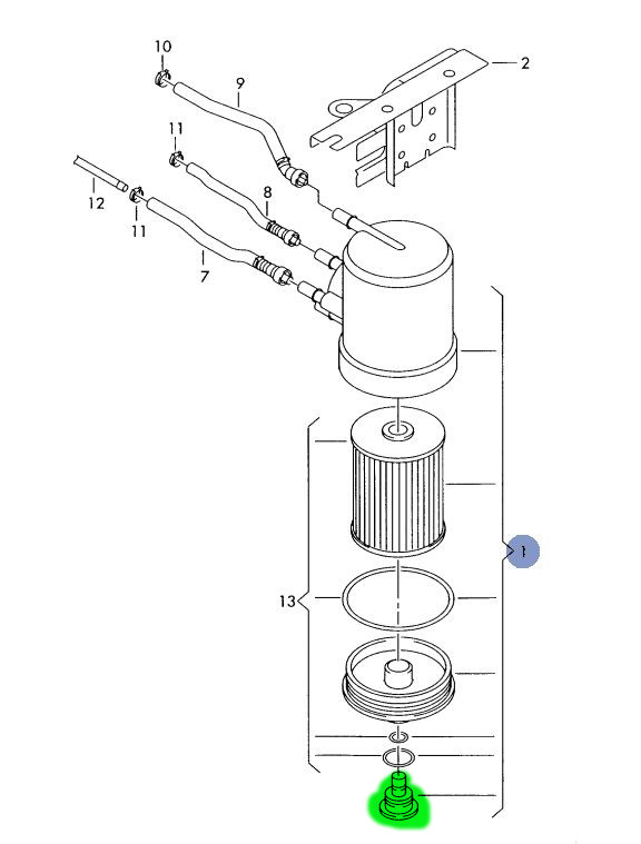 vis de purge de filtre à gasoil A2 1.4 TDI ATL [recherche