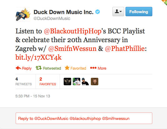 duck down twitter message