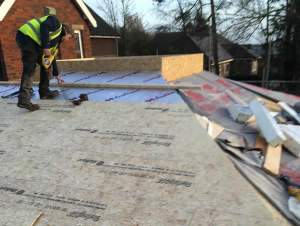 Fixing of sterling OSB 3 boarding to roof joists.