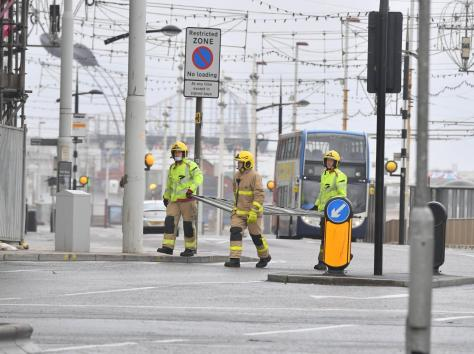 Firefighters were called to retrieve a large piece of steel fencing from the Ibis Styles Hotel in Blackpool.