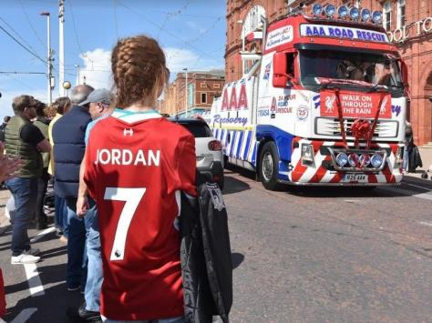 Crowds lines the streets as the convoy for Jordan took almost an hours to pass Blackpool Tower.