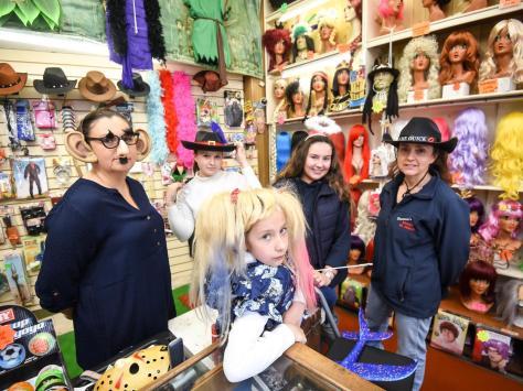 The joke shop is a family business. Pictured are Adeline Langton, Bobbie Langton, Leigh Langton, Janie Langton and Samantha Harper.