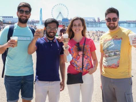 Left to right: Mario Martinez, Sakib Anwar, Amanda De Pirro and Alex Farnell enjoy the weather