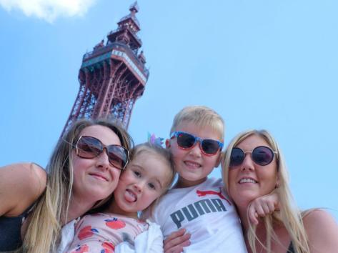 Left to right: Sarah Sullivan, Nova Sullivan, Noah Riley and Amy Heap in front of Blackpool Tower