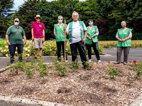 Alan Wignall,  Rose Garden volunteers team leader, with (from left) Terry Harrison, Terry Wallis, Diane Glister, Sue Osborne and Pam Harrison, at one of the beds stripped of roses.