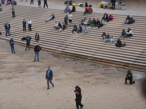 Cast, crew and extras watchedfrom the steps on the beach near Central Pier as the tense drama unfolded and cameras rolled