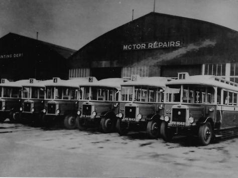 Blackpool buses parked up at the depo in the 1920s