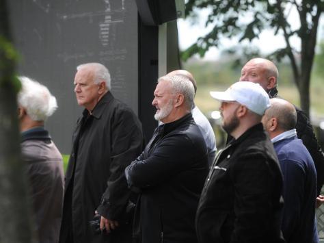 Crowds gathered outside the crematorium