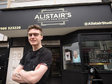 Alistair Taylor has opened his own barbers shop and hair studio in Topping Street