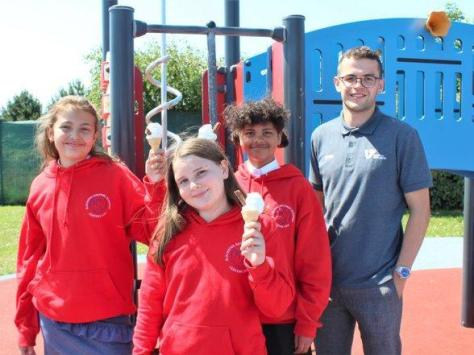Pupils with Lewis Smillie from Vision for Education with their ice creams. Pic: Fylde Coast Academy Trust.