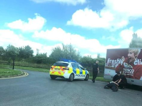Police make an arrest at the scene in Peel Road, Lytham yesterday (Wednesday, July 14). Pic credit: Jason Eastwood
