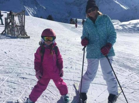 Debbie and her granddaughter Izzy enjoying the slopes at the base of Mont Blanc last year. Debbie hasn't been able to see her family since due to coronavirus travel restrictions. Pic: Debbie Wainwright