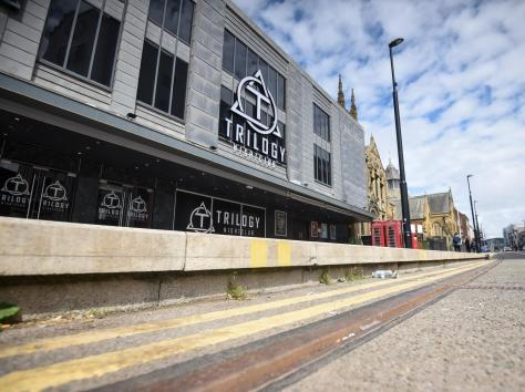 The tram stop 'platform' outside Trilogy nightclub on Talbot Road