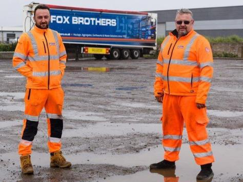 Drivers Jordan Dempsey and Keith Thirsk at the Fox Brothers' site.