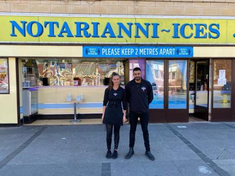 Managing director of Notarianni Ices Luca Vettese with his sister Maddalena, who have adopted compostable packaging in a bid to protect the environment. Pic: Blackpool Council