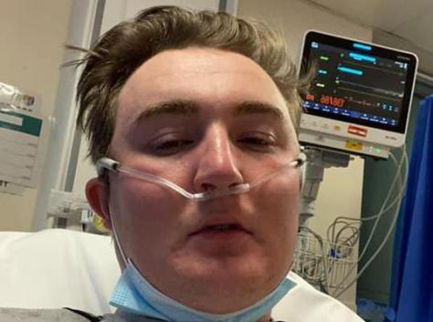 James Yates was taken to A&E and put on oxygen after being exposed to carbon monoxide poisoning inside the family's caravan in the middle of the night. Pic: Amber Yates