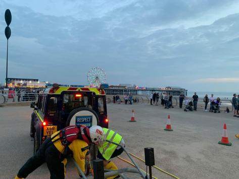 It was another busy weekend for Fylde Coast sea rescue teams, with one person rescued from the water at North Pier in the early hours of Saturday morning (September 4). Pic: RNLI Blackpool