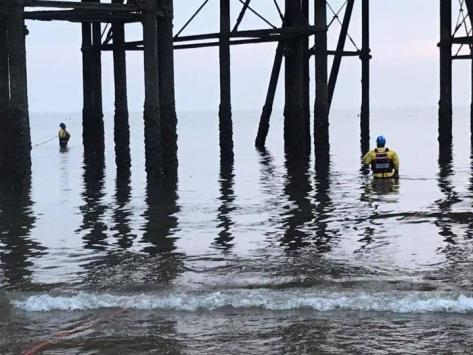 Coastguard and RNLI crews were called to reports of a person in the water clinging onto the legs of the North Pier in Blackpool at around 7.10pm last night (Sunday, September 5). Pic: HM Coastguard Fleetwood