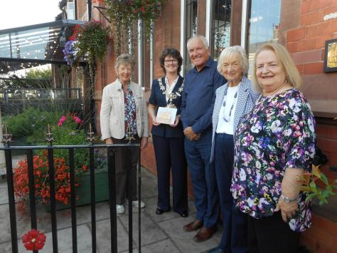 Fylde  mayor Coun Elaine Silverwood at the ceremony with family representative David Ashton,  Heritage Group president Audrey Kirby (second right), chairman Sue Forshaw (right) and currently exhibiting artist Margaret Rodwell