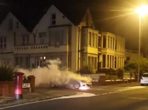 """Firefighters said they found the car """"well alight"""" when they were called to the scene at the junction of Warbreck Drive and King George Avenue in the early hours of Saturday morning (September 17)"""