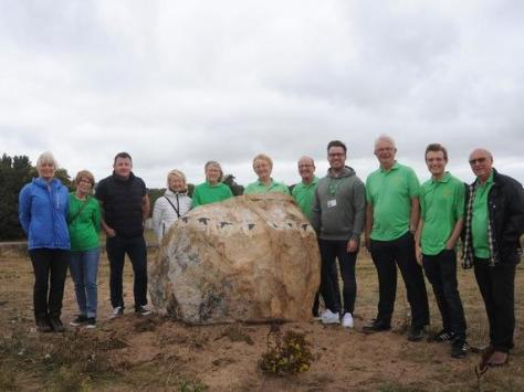 Lytham In Bloom volunteers and Fylde Councillors at the sculpture's unveiling