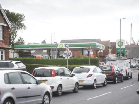 Traffic was backed up in Thornton yesterday as people queued for fuel.