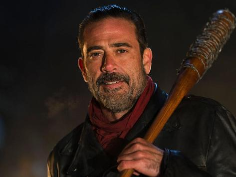 Walking Dead archvillain Negan takes his barbed wire bat Lucille with him wherever he goes. Copyright: © 2016 AMC Film Holdings LLC.