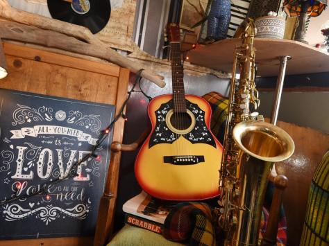 The music theme is based on Josh's love of Jazz and his years of being a musician.