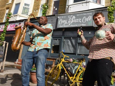 Cafe owner Josh Samuel and staff member Tom Hickman at Cosy Jazz Cafe, Blackpool, thought to be the only plant-based, vegan jazz cafe in the world, Lytham Road, Blackpool.