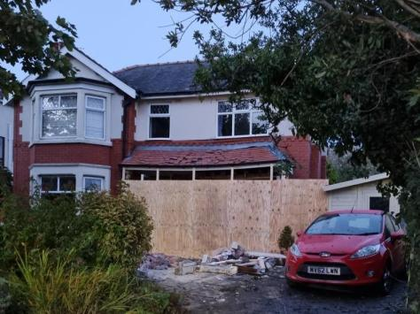 The house was left structurally unstable and has been boarded up