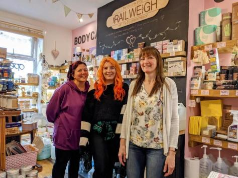 Tracy Earnshaw, Jess Earnshaw and Amanda Cross (left to right) at the new Tram Weight shop, to open later this month