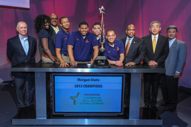Morgan State University students, winners of the 24th Annual Honda Campus All-Star Challenge, pose with Honda executives at the American Honda Headquarters following the event in Torrance, Calif., April 8, 2013. Morgan State University students of Baltimore, Md. take back $50,000 in grant money for their school, besting 47 other schools who competed in this years challenge. (Eric Reed/AP Images for American Honda Motor Co., Inc.)