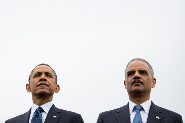 President Obama and Attorney General Eric H. Holder Jr. appeared together at the National Peace Officers Memorial Service on Wednesday morning in Washington. (Drew Angerer for The New York Times)