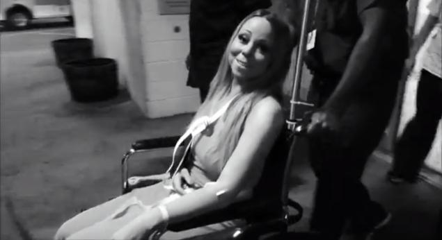 Mariah Carey as she is released from the hospital after she injured her shoulder. (MARIAH CAREY VIA YOUTUBE)