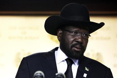 South Sudan's President Salva Kiir delivers a speech in the capital Juba