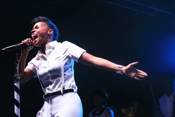 """Janelle Monáe, at the 2013 edition of Coachella, slows things down on her latest single, """"Primetime."""" (Brian van der Brug / Los Angeles Times)"""