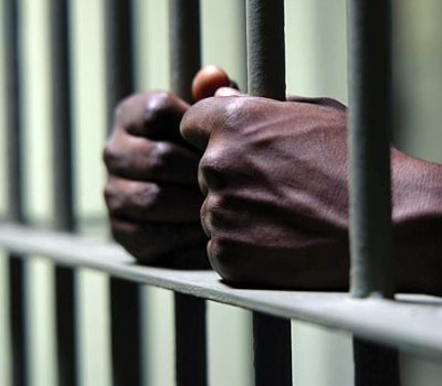 black man in jail