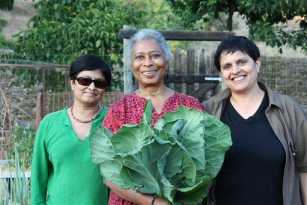 """This photo released by PBS shows Alice Walker, center, with director Pratibha Parmar, left, and producer Shaheen Haq of American Masters """"Alice Walker: Beauty in Truth,"""" in Northern California. (AP Photo/PBS, Trish Govoni)"""