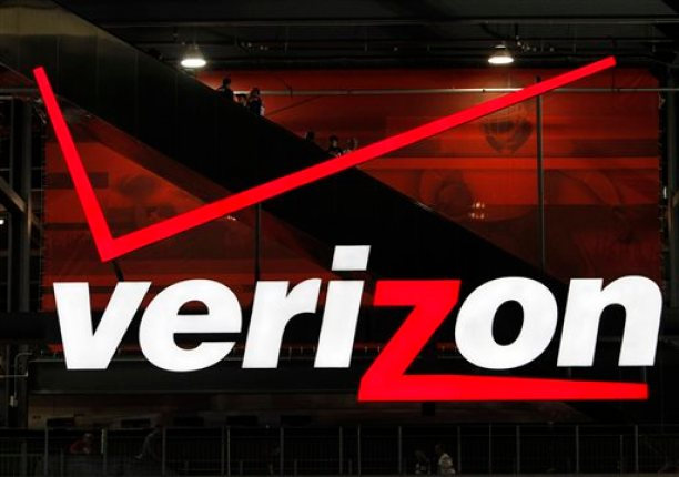 In file photo taken Aug. 21, 2010, a Verizon sign is shown at New Meadowlands Stadium in East Rutherford, N.J. (AP Photo/Peter Morgan)