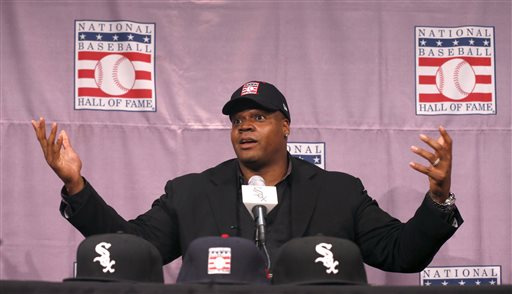 Chicago White Sox slugger Frank Thomas gestures during a news conference about his selection into the MLB Baseball Hall Of Fame Wednesday, Jan. 8, 2014, at U.S. Cellular Field in Chicago. Thomas joins Greg Maddux and Tom Glavine as first ballot inductees Wednesday, and will be inducted in Cooperstown on July 27 along with managers Bobby Cox, Joe Torre and Tony La Russa, elected last month by the expansion-era committee. (AP Photo/Charles Rex Arbogast)