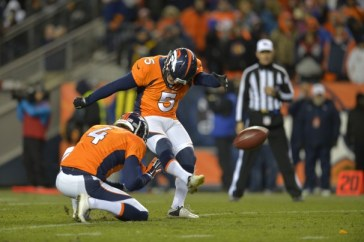 Matt Prater of the Denver Broncos adds a PAT in the AFC divisional playoff game. (Jack Dempsey / AP)