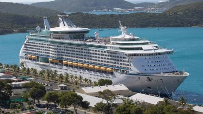 The Royal Caribbean International's Explorer of the Seas is docked at Charlotte Amalie Harbor in St. Thomas, U. S. Virgin Islands, Sunday, Jan. 26, 2014. (Thomas Layer/AP Photo)