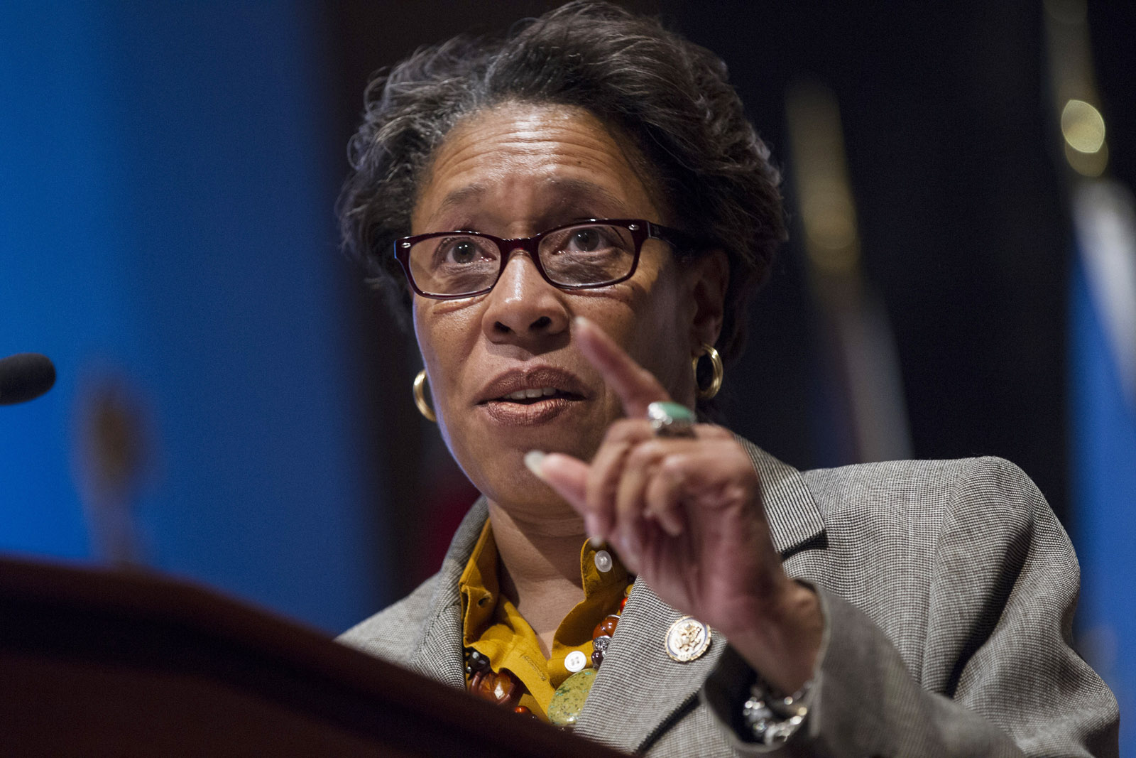 CBC Chairman Rep. Marcia Fudge (D-OH) speaks during a Congressional Black Caucus ceremonial oath of office ceremony in the Congressional Visitors Center at the U.S. Capitol in Washington D.C.