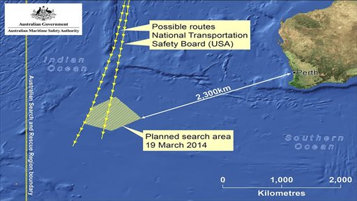 This graphic made Wednesday, March 19, 2014 and released by Australian Maritime Safety Authority (AMSA) Thursday, March 20, 2014, shows an area in the southern Indian Ocean that the AMSA is concentrating its search for the missing Malaysia Airlines Flight MH370 on. AMSA response division manager John Young has identified their search will cover a massive 600,000 square kilometers (232,000 square miles) area, saying it will take weeks to search thoroughly. Australian Prime Minister Tony Abbot said Thursday that two objects possibly related to the missing Malaysia Airlines flight have been spotted on satellite imagery in the Indian Ocean and an air force aircraft was diverted to the area to try to locate them. (AP Photo/Australian Maritime Safety Authority)