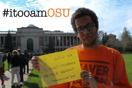 Justin McDaniels shares a memory for the I, Too, Am OSU campaign, which he helped launch last month. (Photo courtesy of I, Too, Am OSU)