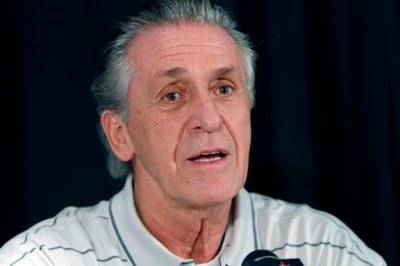 """In this Sept. 23, 2010 file photo, Pat Riley, the President of the Miami Heat basketball team, speaks with the media in Miami. Miami Heat President Pat Riley is speaking out at length for the first time since LeBron James left the franchise, saying that he wants the team """"to be as good as it's ever been"""" going forward, Wednesday, July 30, 2014. (AP Photo/J Pat Carter, File)"""