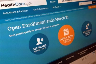 "This March 1, 2014 file photo shows part of the website for HealthCare.gov, photographed in Washington.  Management failures by the Obama administration set the stage for the computer woes that paralyzed the president's new health care program last fall, nonpartisan investigators said in testimony released Wednesday. After a months-long investigation, the Government Accountability Office found that the administration lacked ""effective planning or oversight practices"" for the development of HealthCare.gov, the online portal to coverage for millions of uninsured Americans. (AP Photo/Jon Elswick, File)"