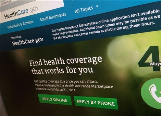 FILE - This Nov. 29, 2013, file photo shows a part of the HealthCare.gov website, photographed in Washington. If you have health insurance on your job, you probably don't give much thought to each year's renewal. But make the same assumption in one of the new health law plans, and it could lead to costly surprises. Insurance exchange customers who opt for convenience by automatically renewing their coverage for 2015 are likely to receive dated and inaccurate financial aid amounts from the government, say industry officials, advocates and other experts.  (AP Photo/Jon Elswick, File)