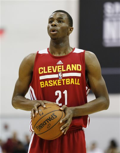 Andrew Wiggins of the Cleveland Cavaliers prepares to take a free throw against the Milwaukee Bucks in an NBA summer league basketball Friday, July 11, 2014, in Las Vegas. (AP Photo/John Locher)
